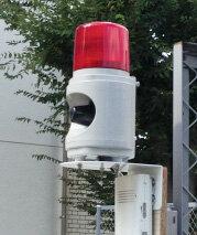 駐車場の防犯対策、LED回転灯付音声報知器